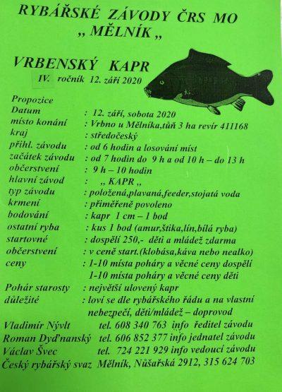 Pozvánka na rybářské závody - Vrbenský kapr